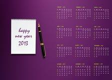 Calendario di nuovo anno 2013 Immagini Stock Libere da Diritti