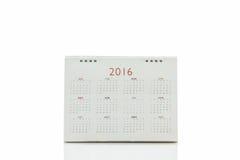 Calendario 2016 di spirale dello scrittorio del Libro Bianco Fotografia Stock