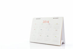 Calendario 2016 di spirale dello scrittorio del Libro Bianco Immagini Stock