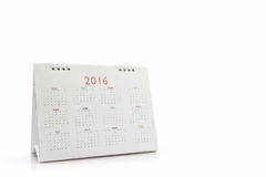 Calendario 2016 di spirale dello scrittorio del Libro Bianco Fotografia Stock Libera da Diritti