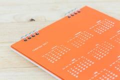 Calendario 2017 di spirale dello scrittorio del Libro Bianco Immagine Stock Libera da Diritti