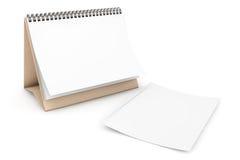 Calendario di spirale dello scrittorio della carta in bianco Immagine Stock