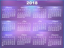 Calendario di ultravioletto 2018 con i grandi numeri Fotografia Stock Libera da Diritti