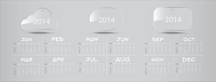 Calendario di vetro 2014 dell'icona Fotografia Stock