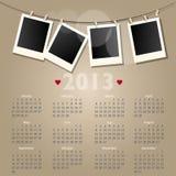 Calendario di vettore 2013 con i blocchi per grafici della foto del polaroid Immagini Stock