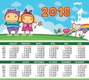 Calendario di vettore 2018 anni illustrazione vettoriale