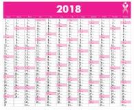 Calendario di vettore per 2018 fotografia stock libera da diritti