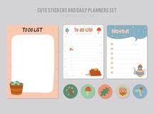 Calendario diario lindo y hacer la plantilla de la lista Imagen de archivo libre de regalías