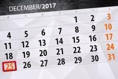 Calendario diario para el 25 de diciembre Fotos de archivo