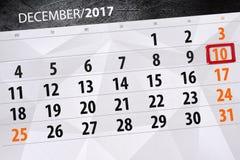 Calendario diario para el 10 de diciembre Imagen de archivo libre de regalías