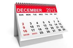 Calendario diciembre de 2012 Fotografía de archivo libre de regalías