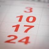 Calendario diecisiete hecho salir Fotos de archivo