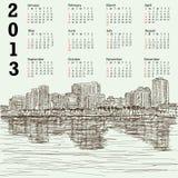 Calendario disegnato a mano di paesaggio urbano 2013 Fotografia Stock