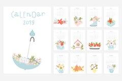 Calendario 2019 Divertimento e calendario sveglio con i fiori disegnati a mano royalty illustrazione gratis