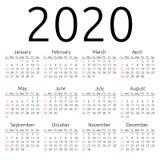 Calendario 2020, domingo del vector Fotografía de archivo