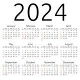 Calendario 2024, domingo del vector Fotos de archivo libres de regalías