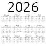 Calendario 2026, domingo del vector Foto de archivo libre de regalías