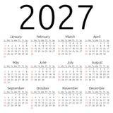 Calendario 2027, domingo del vector Fotos de archivo libres de regalías