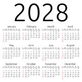 Calendario 2028, domingo del vector Fotografía de archivo libre de regalías