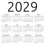 Calendario 2029, domingo del vector Fotografía de archivo
