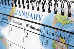 Calendario e globi Immagini Stock