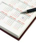 Calendario e penna Immagine Stock Libera da Diritti