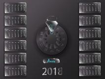 Calendario 2018 e segni dello zodiaco Fotografie Stock Libere da Diritti