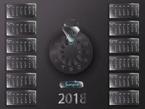 Calendario 2018 e segni dello zodiaco Immagine Stock