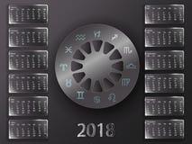 Calendario 2018 e segni dello zodiaco Immagini Stock