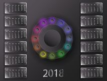 Calendario 2018 e segni dello zodiaco Fotografia Stock Libera da Diritti