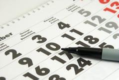 Calendario ed indicatore Fotografia Stock Libera da Diritti