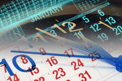 Calendario ed orologio Fotografie Stock Libere da Diritti