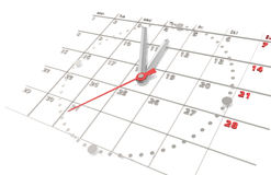 Calendario ed orologio. Edizione d'acciaio Fotografia Stock