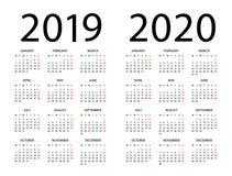 Calendario 2019 2020 - ejemplo Comienzo de la semana el lunes stock de ilustración