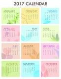 2017 calendario - ejemplo del vector del tema de la salud Fotografía de archivo libre de regalías