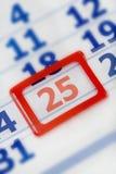 Calendario el 25 de diciembre Fotos de archivo libres de regalías