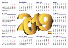 2019 calendar in spanish horizontal Royalty Free Stock Photos