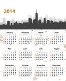 calendario elegante de 2014 años en fondo del grunge del paisaje urbano stock de ilustración
