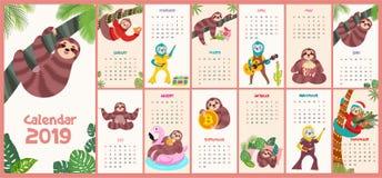 Calendario elegante, de moda 2019 con perezas de la historieta Ilustración del vector ilustración del vector