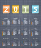 Calendario elegante para 2015 en la textura de lino con el insertio de cuero Fotografía de archivo