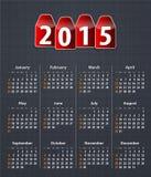 Calendario elegante para 2015 en la textura de lino con las etiquetas rojas stock de ilustración