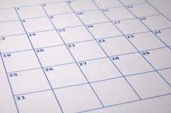 Calendario en blanco Fotos de archivo libres de regalías