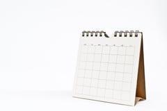 Calendario en blanco aislado en blanco Imagen de archivo