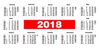 Calendario 2018 en el fondo blanco Plantilla del ejemplo del vector Foto de archivo