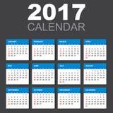 Calendario 2017 en estilo horizontal ilustración del vector