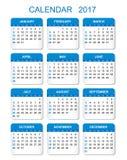 Calendario 2017 en estilo vertical ilustración del vector
