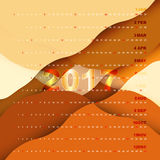 calendario 2017 en fondo abstracto anaranjado libre illustration