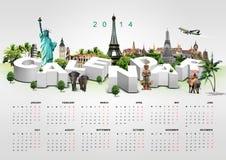 Calendario en fondo del viaje Foto de archivo
