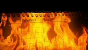 Calendario en llamas - concepto perdido del tiempo metrajes