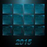Calendario 2015 en los paneles helados vidrio Fotografía de archivo